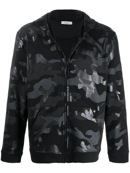 Camouflage Print Zipped Hoodie