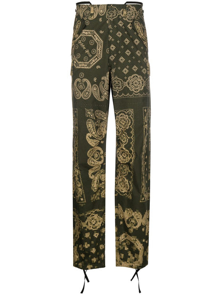 Green Bandana Print Pants