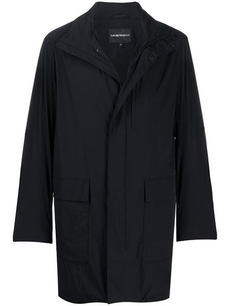 Funnel-Neck Mid-Length Coat