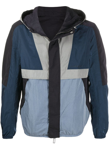 Geometric-Panel Reversible Hooded Jacket