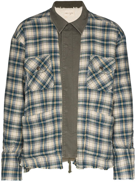 Check-Pattern Buttoned Shirt Jacket
