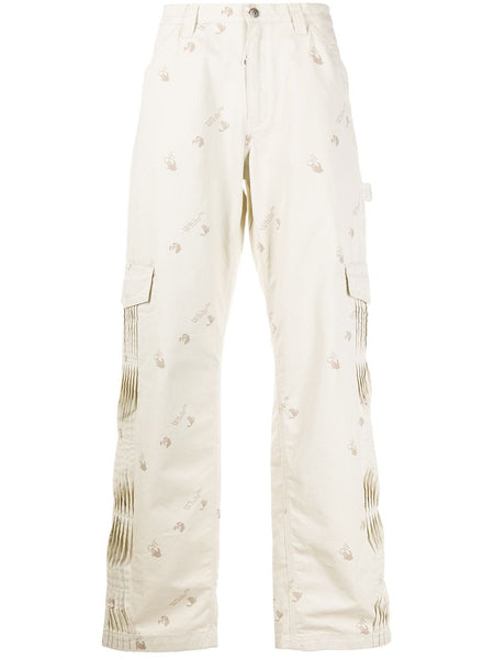 Pleated Logo Print Cargo Pants