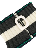 Zip-Front Striped Neckband