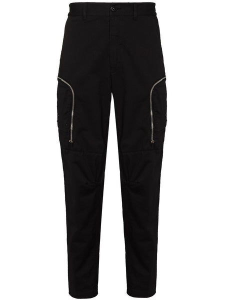 Zipped Black Cargo Trouser