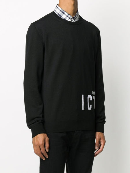 Icon Knitted Black Sweater