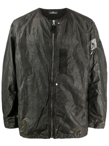 Crease-Effect Zip-Up Jacket