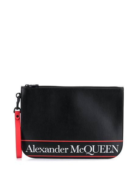 Logo Stripe Clutch Bag
