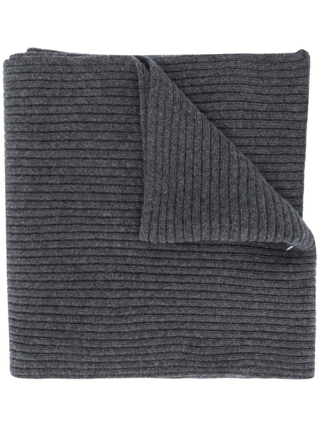 Stitch Detailed Rib-Knit Scarf