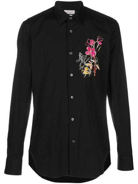 Floral Embroidered Shirt Black