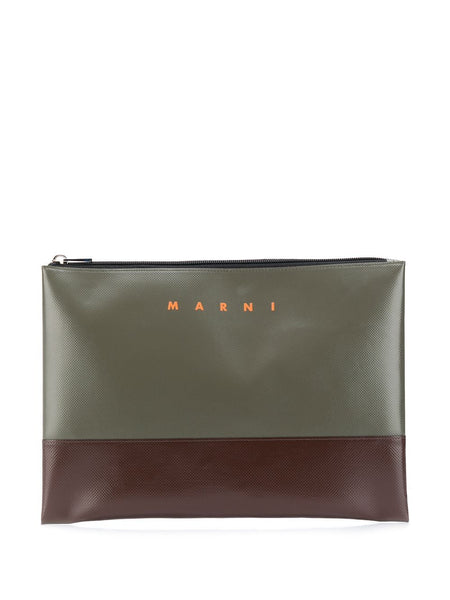 Colour Block Logo Print Clutch Bag