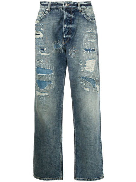 Distressed Stonewashed Straight Leg Jeans