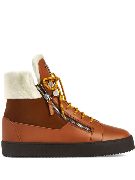 Trek Shearling-Trimmed High-Top Sneakers