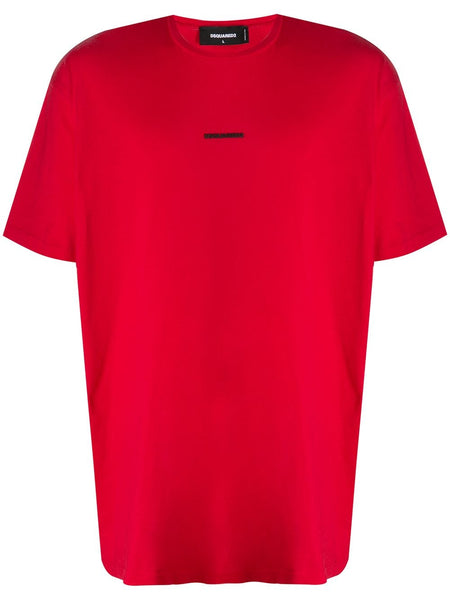 Cotton Red T-Shirt With Logo Print
