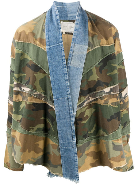 Contrast Lapel Camouflage Print Jacket