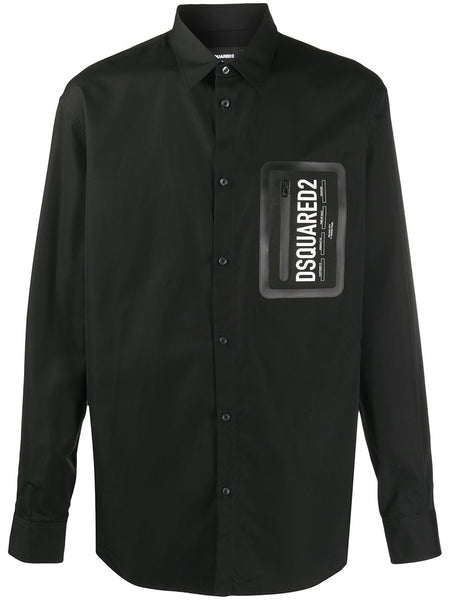 Button-Down Cotton Shirt With Zip Patch Pocket
