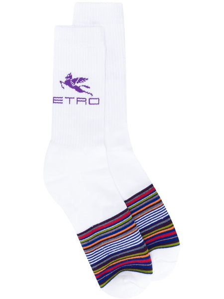 Striped Logo-Print Socks