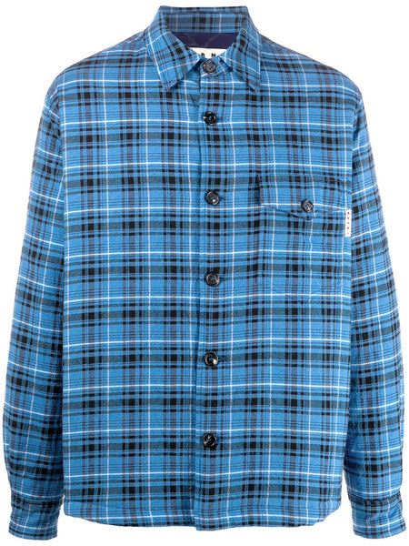 Check-Print Shirt Jacket