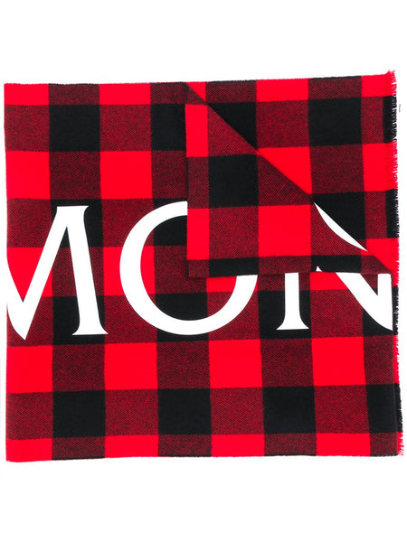 Logo-Check Wool Scarf