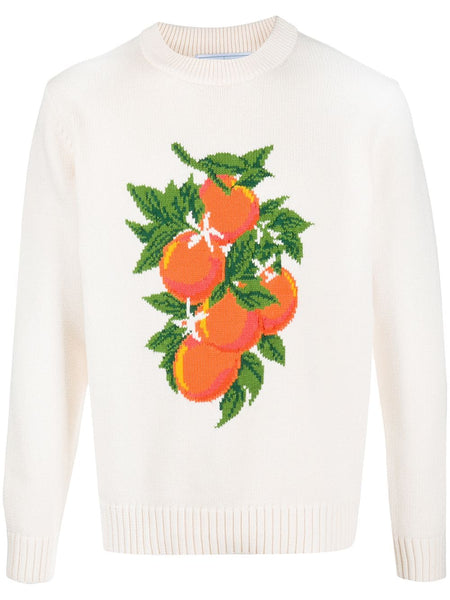 Orange Intarsia Knit Jumper