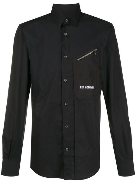 Embroidered Logo Zipped-Pocket Shirt