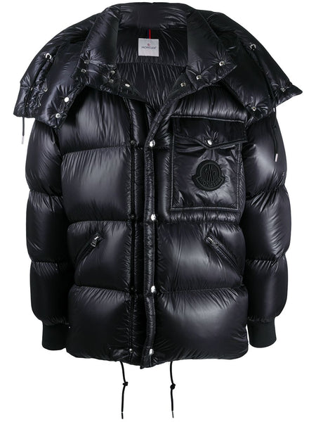 Logo Patch Detachable-Hood Puffer Jacket