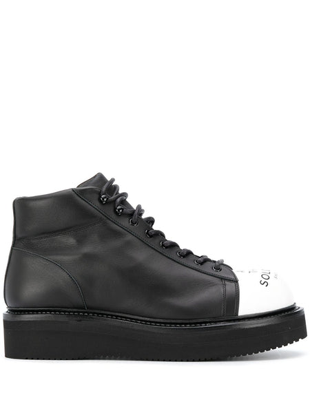 Contrast-Toe Lace-Up Boots
