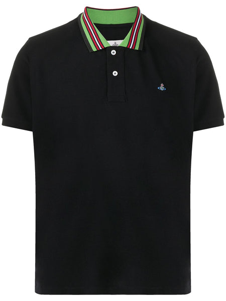 Stripe-Trim Organic Cotton Polo Shirt