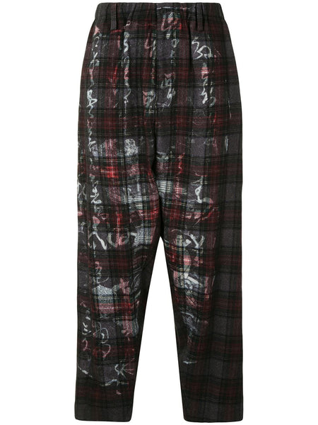 Graphic-Print Check Trousers