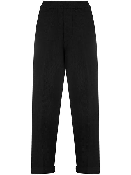 Elasticaticated-Waist Tapered Trousers