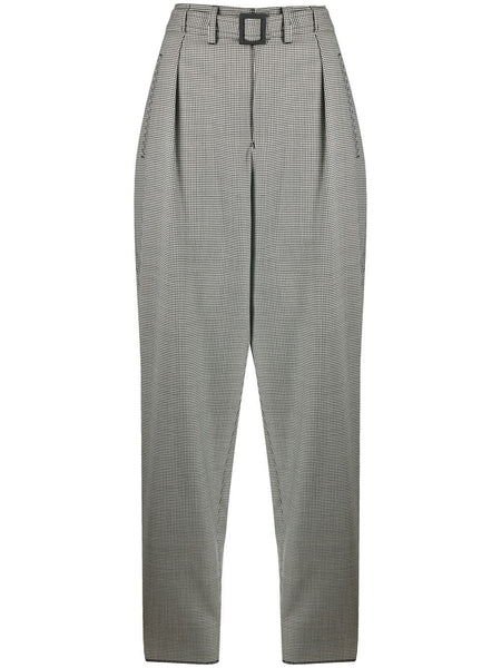 Houndstooth-Print Tapered Trousers