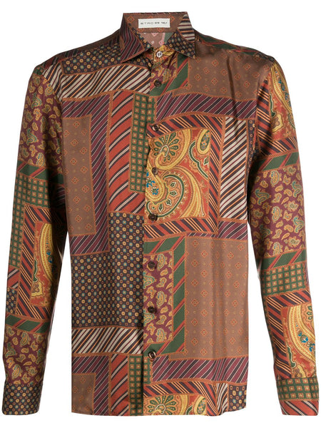 Patchwork Printed Silk Shirt