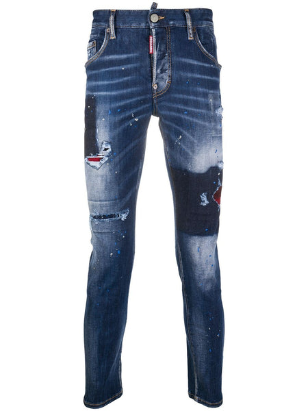 Distressed Patchwork Slim-Fit Jeans