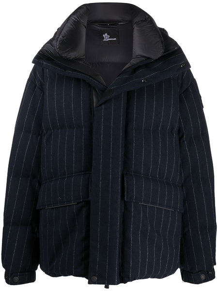 Pinstriped Puffer Coat