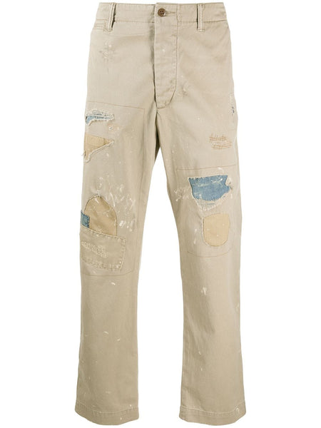 Distressed Straight-Leg Chinos