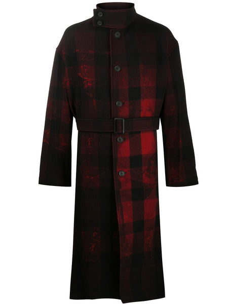 Plaid Check Print Coat