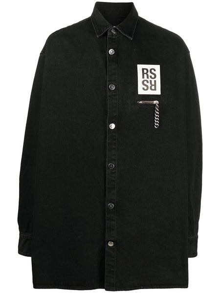 Logo Patch Oversized Denim Shirt