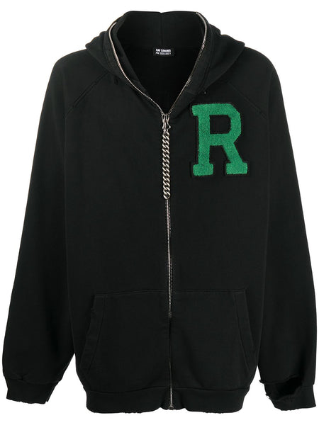 Logo Patch Oversized Zip-Up Hoodie