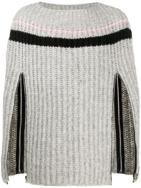 Zip-Up Sleeve Knitted Jumper