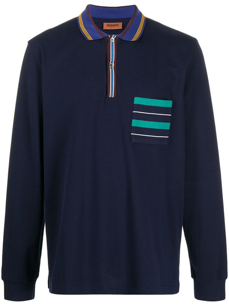 Stripe-Detailing Long-Sleeve Polo Shirt