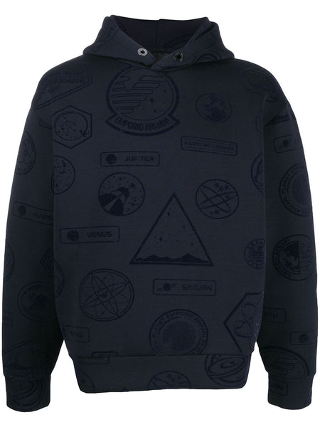 Space-Motif Drop-Shoulder Hoodie