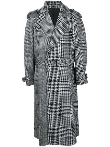 Houndstooth-Print Belted Trench