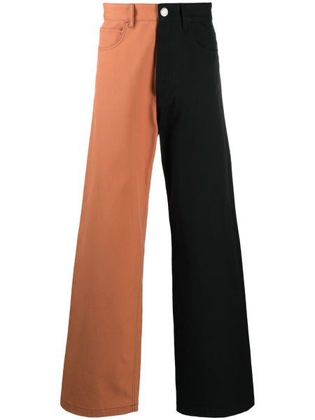 Two-Tone Wide-Leg Jeans