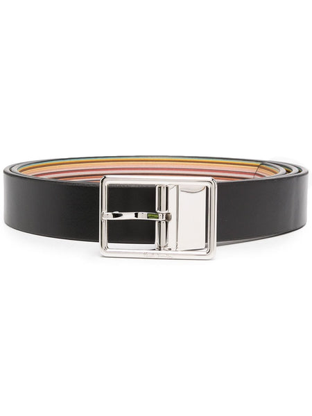 Calf Leather Belt With Striped Lining
