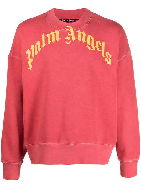 Vintage Wash Curved Logo Crew Red Yellow