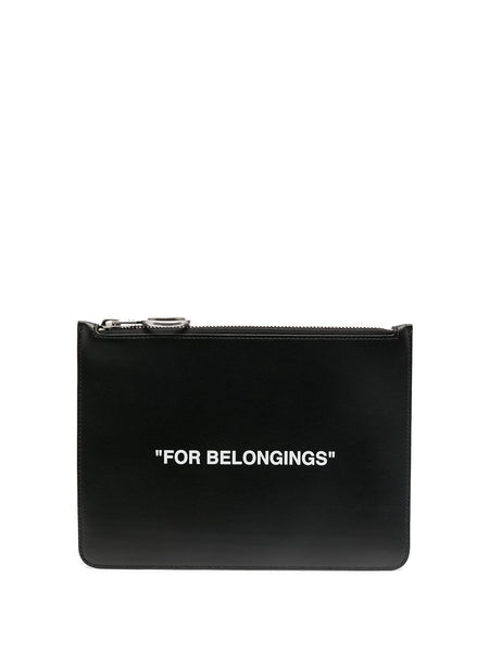 Quote-Print Clutch Bag