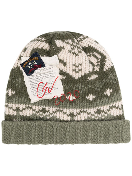 Intarsia-Knit Logo Patch Beanie