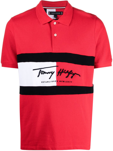 Panel Embroidered Logo Polo Shirt