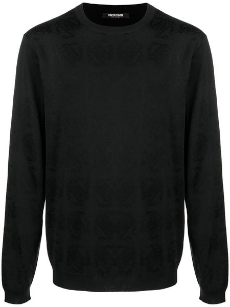 Jacquard-Monogram Crew Neck Jumper