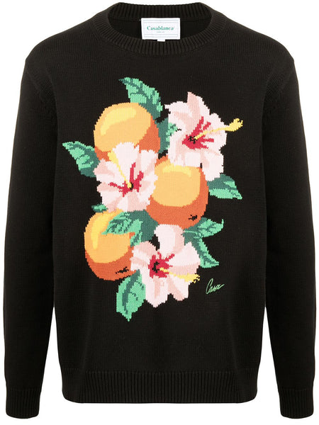 Orange Blossom Intarsia Knit Jumper