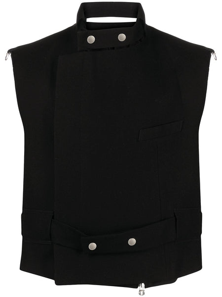 Choker-Detail Vest Jacket
